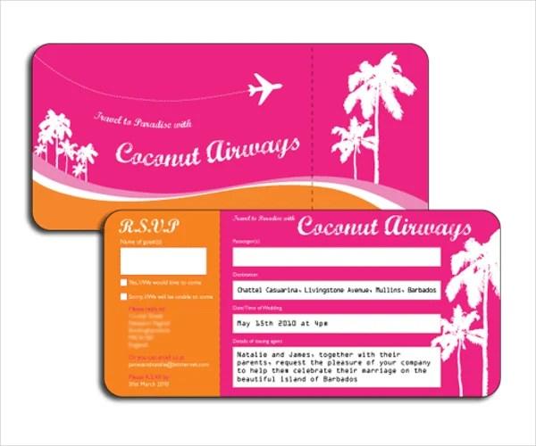Airline Ticket Invitation Template \u2013 diabetesmanginfo