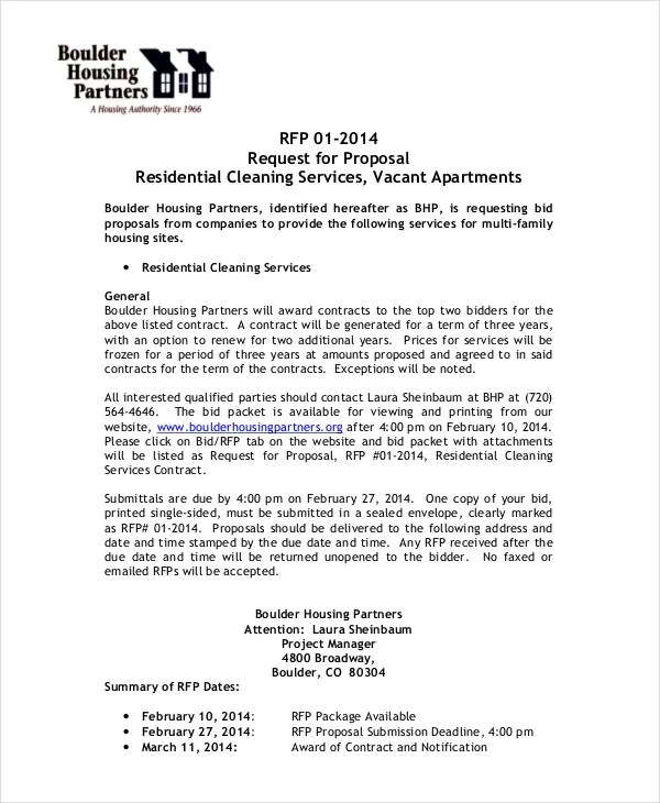 Sample Cleaning Proposal Template This Template Has Been Provided - proposal contract template
