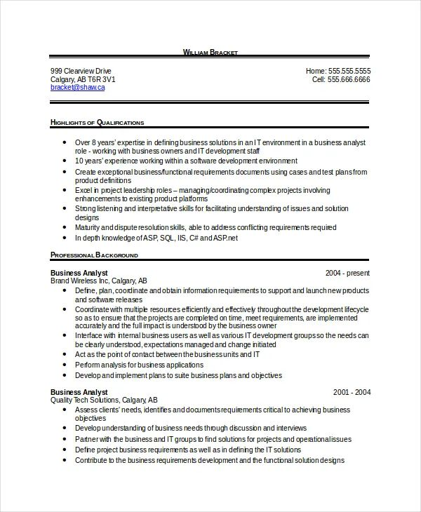 sample resume document format