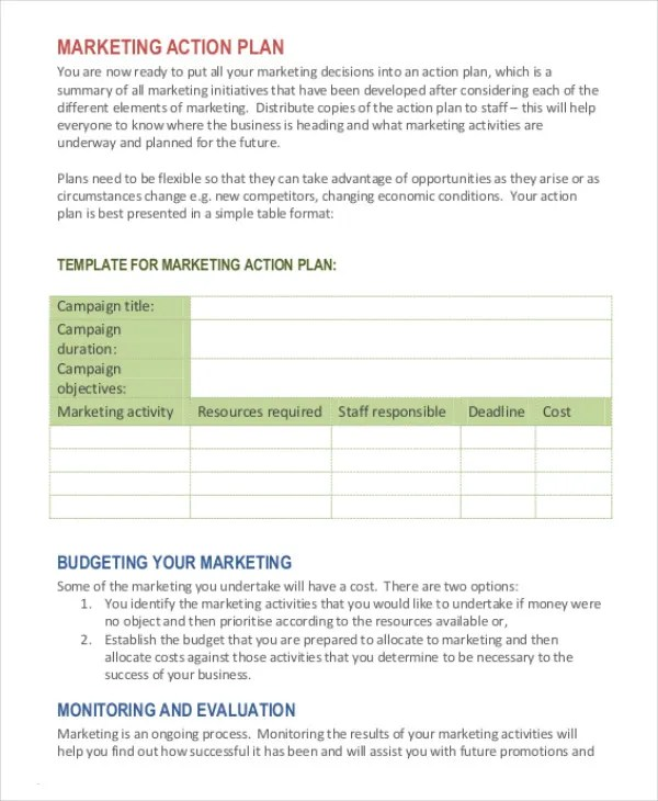 business action plan template – Sample Marketing Action Plan
