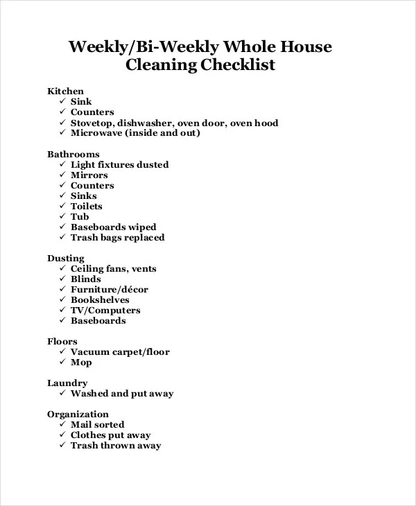 House Cleaning Checklist - 16+ PDF, Word Documents Download Free
