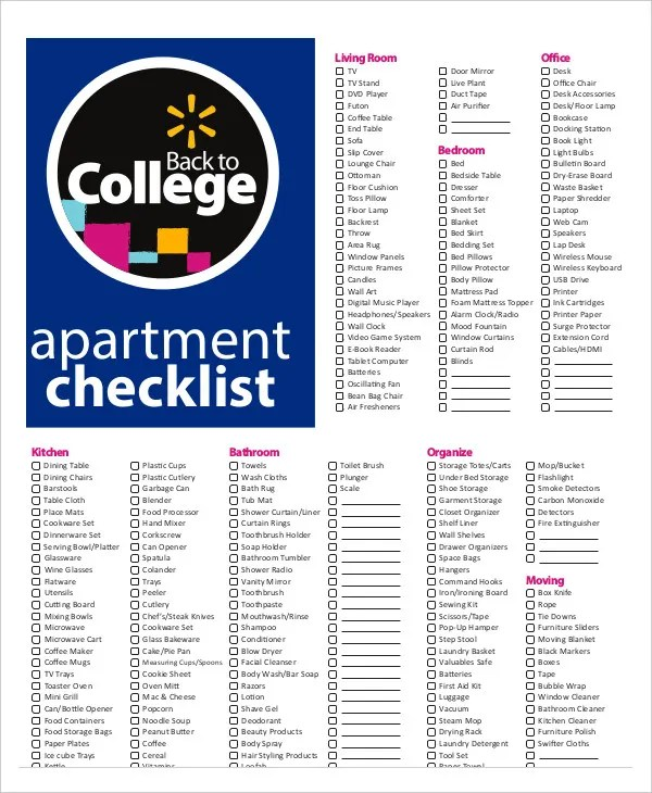 New Apartment Checklist - 9+ Free Word, PDF Documents Download