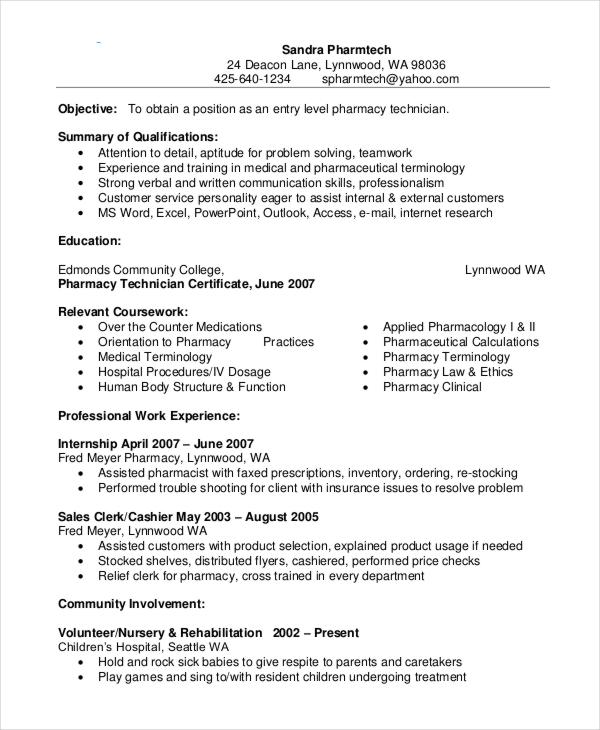 Resume Examples Pharmacy Technician - Examples of Resumes - cardinal health pharmacist sample resume
