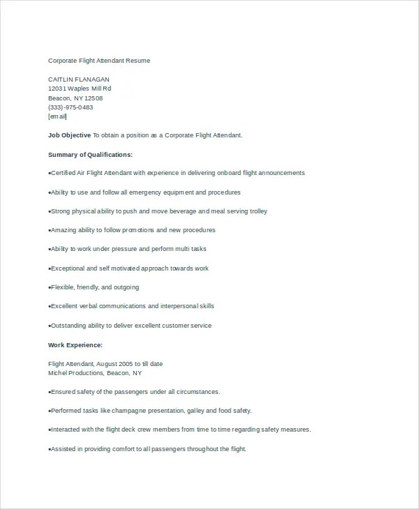 flight attendant resume sample entry level medical writer resume ...