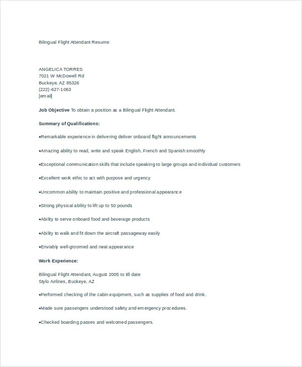 6+ Flight Attendant Resume Templates - PDF, DOC Free  Premium - air flight attendant sample resume