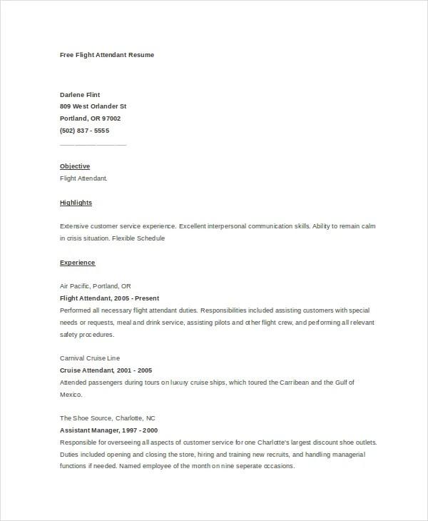 6+ Flight Attendant Resumes - Free Sample, Example, Format Free - sample flight attendant resume