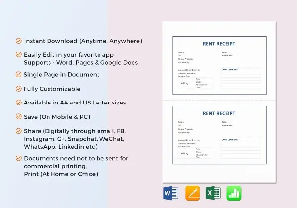 Rent Receipt Template - 9+ Free Word, PDF Documents Download Free