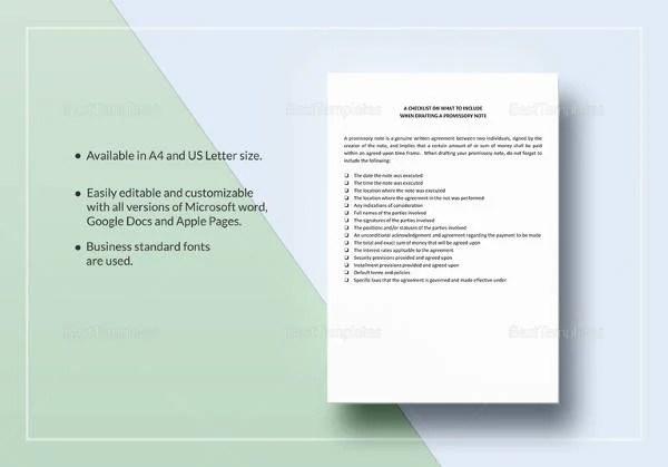 19+ Simple Promissory Note Templates - Google Docs, MS Word, Apple