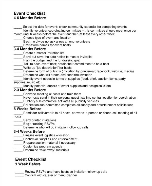 Event Planning Checklist - 11+ Free Word, PDF Documents Download - Event Planning Document Template
