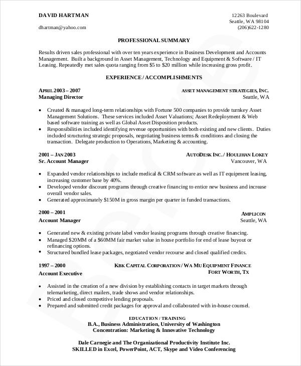 7+ Business Resume Templates - PDF, DOC Free  Premium Templates