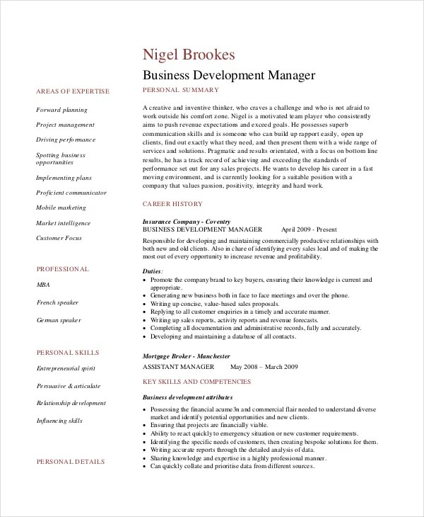 7+ Business Resume Templates - PDF, DOC Free  Premium Templates - business development manager resume samples