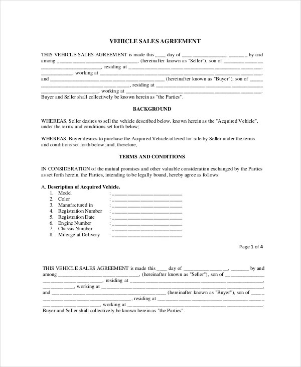 Purchase and Sale Agreement - 10+ Free PDF Documents Download Free - sample vehicle purchase agreement