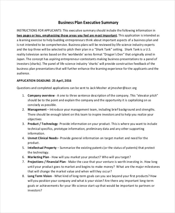 20+ Executive Summary Templates Free \ Premium Templates - business summary template