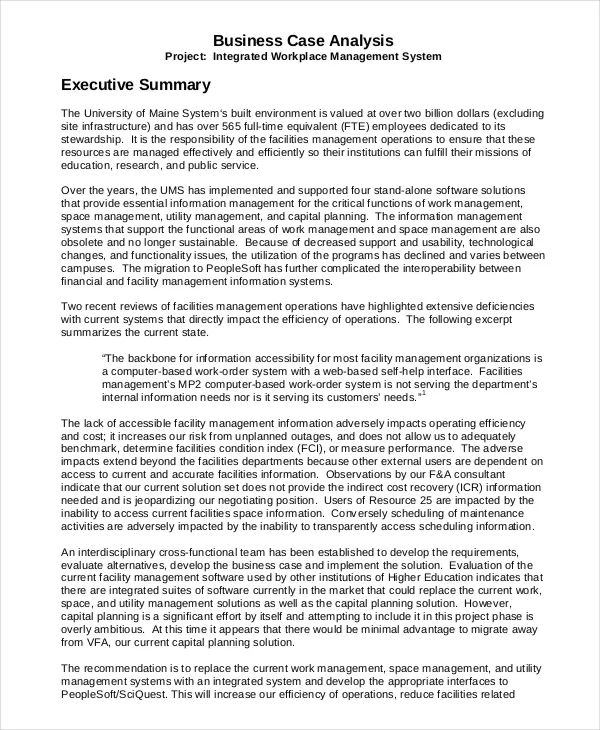 writing executive summary template