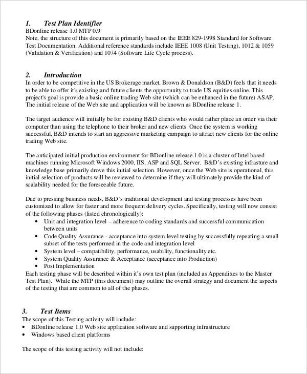 14+ Simple Test Plan Templates - Word, PDF Free  Premium Templates