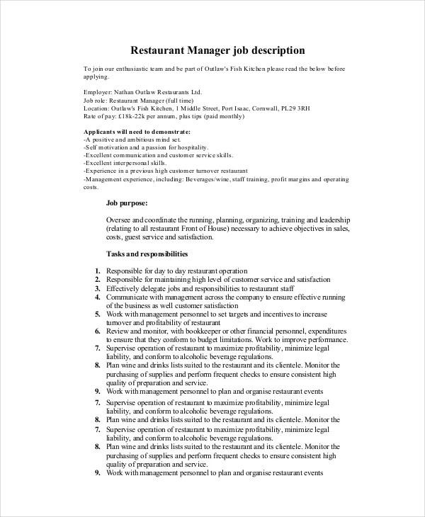 restaurants manager job description brilliant ideas kitchen
