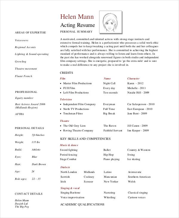8+ Acting Resumes - Free Sample, Example, Format Free \ Premium - professional actor resume