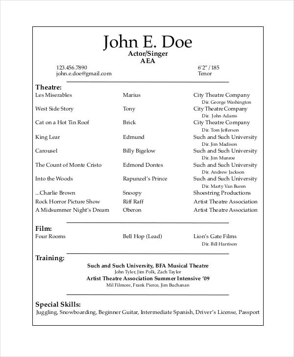 example of actors resume