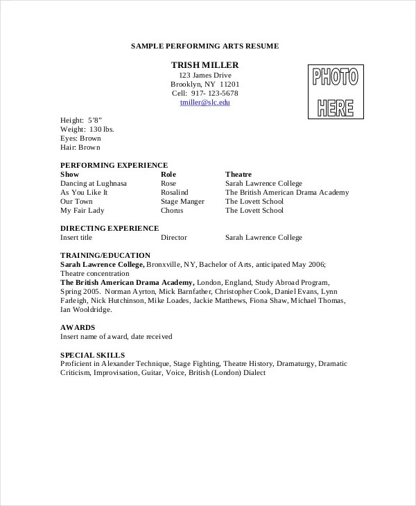 8+ Acting Resumes - Free Sample, Example, Format Free \ Premium - special skills on acting resume