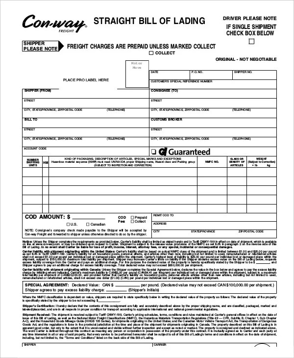 straight bill of lading template free - Selol-ink