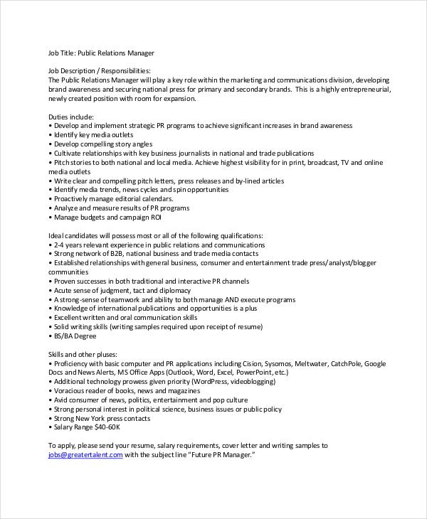 10+ Sample Manager Job Description Templates - PDF, DOC Free