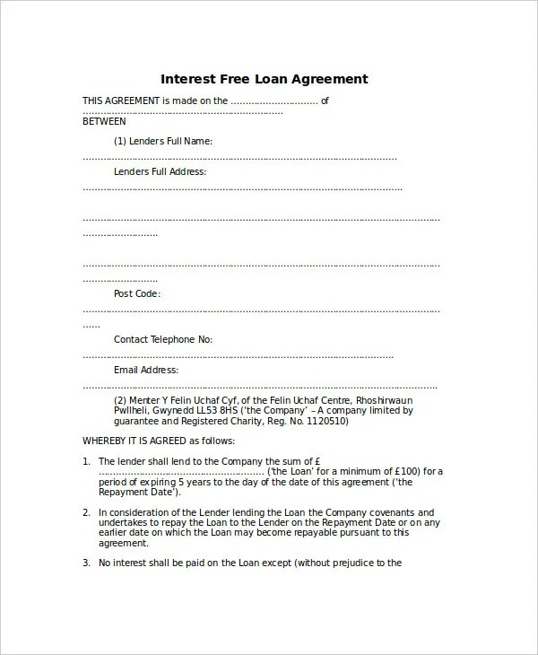 Loan Agreement Template - 14+ Free Word, PDF Document Download - interest free loan agreement template