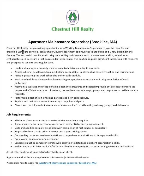 Maintenance Job Description - 9+ Free PDF Documents Download Free