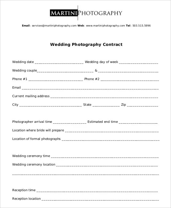 wedding photography contract template word - Minimfagency