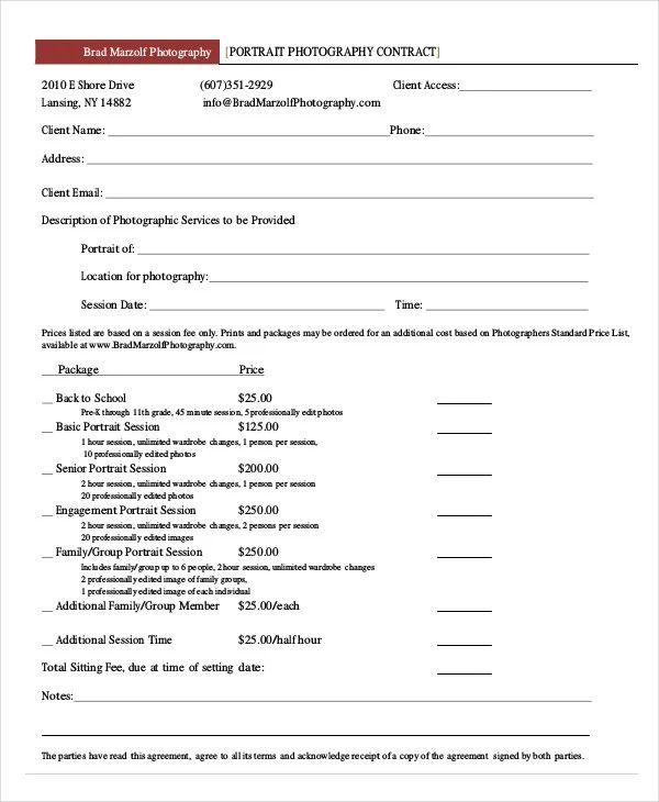 portrait photography contract