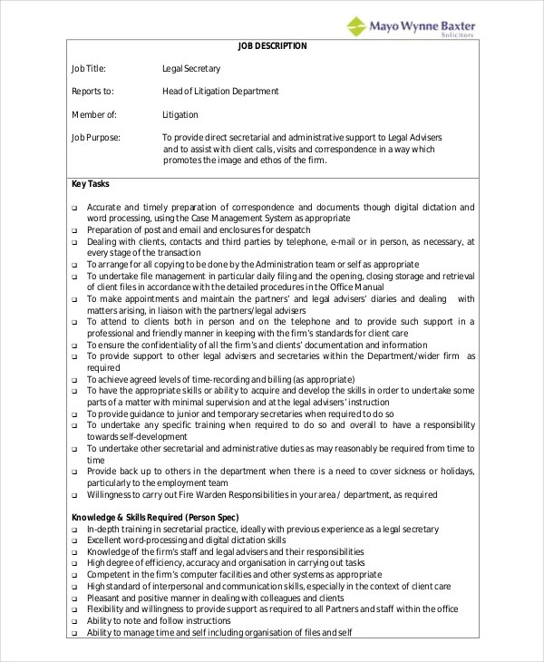 Medical Secretary Job Description 3 Key Job Qualifications For - medical secretary job description