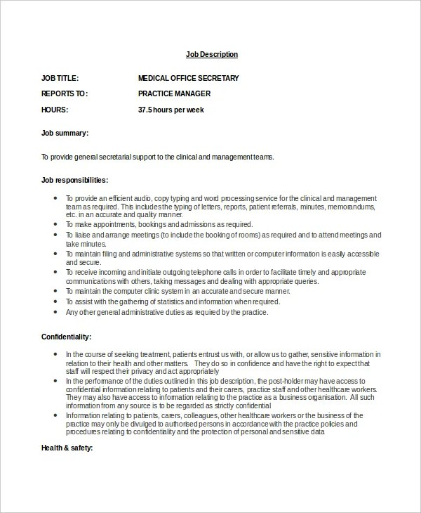 Secretary Job Description Example - 10+ Free Word, PDF Documents - medical secretary job description