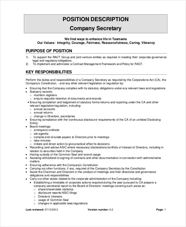 Job Description Example Secretary