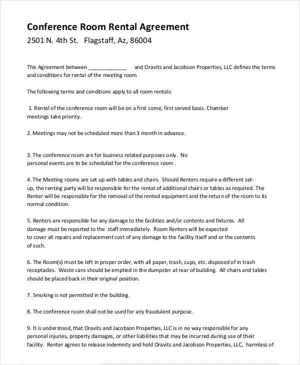 simple room rental agreement