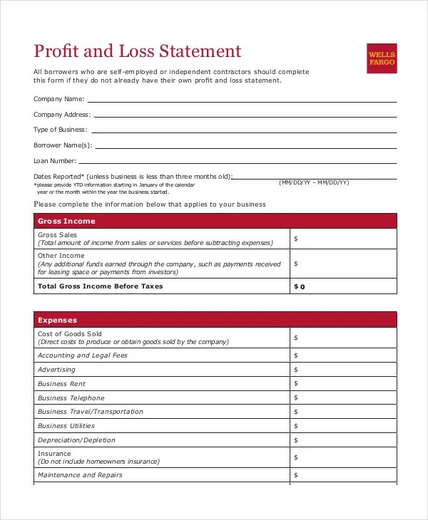 printable profit and loss statement form - 28 images - blank profit