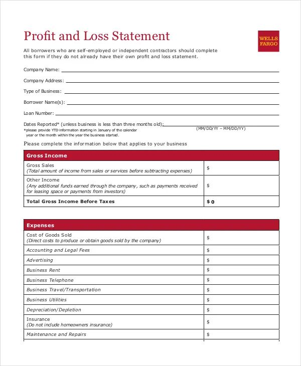 profit and loss statement template for small business