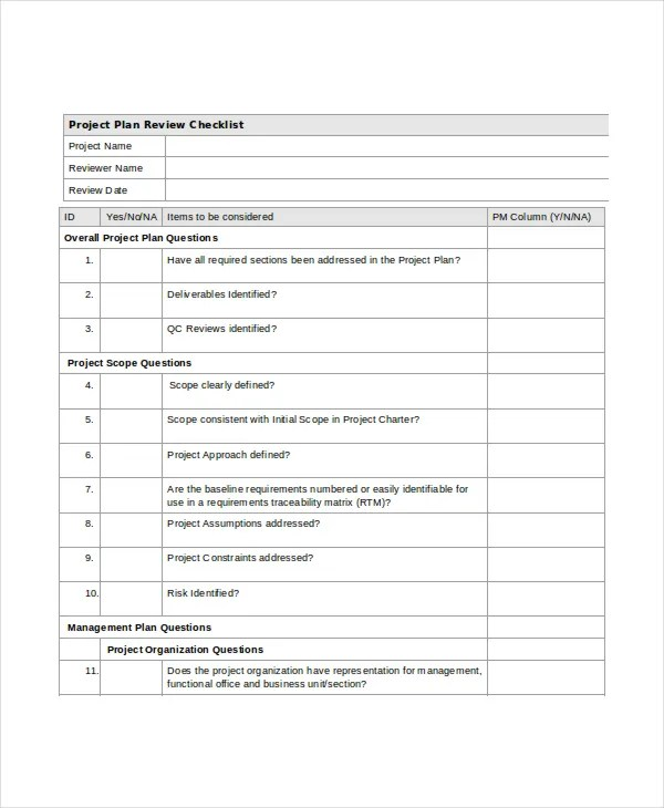 Sample Project Checklist Template College Project Checklist