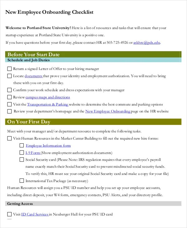 41+ Checklist Templates Free  Premium Templates - sample new hire checklist template