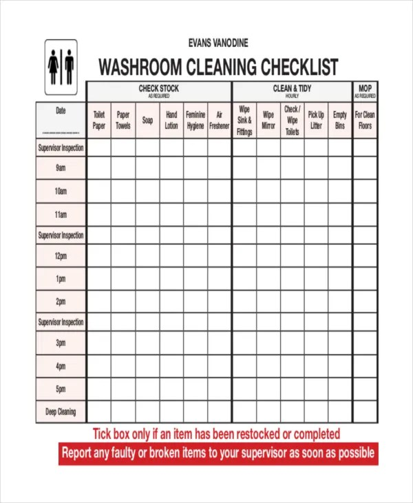 template bathroom cleaning checklist template bathroom cleaning