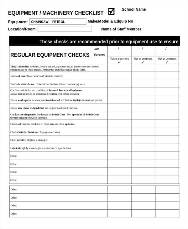 41+ Checklist Templates Free  Premium Templates - maintenance checklist template