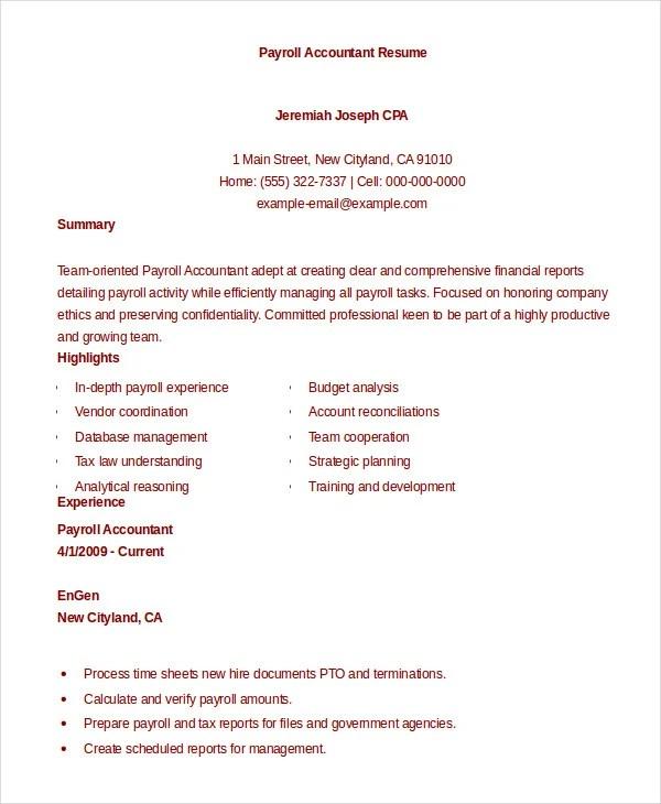 13+ Accountant Resume Templates - PDF, DOC Free  Premium Templates