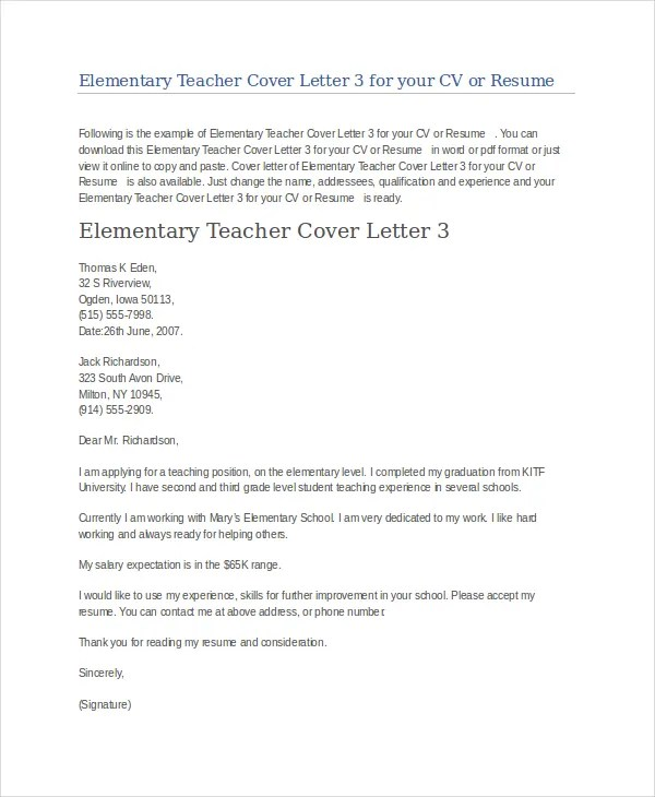 Teacher Cover Letter Example - 9+ Free word, PDF Documents Download - cover letter for teacher resume