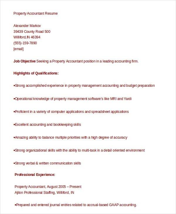 10+ Accountant Resume Templates - PDF, DOC Free  Premium Templates - property accountant resume