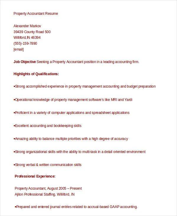 property accountant resume sample