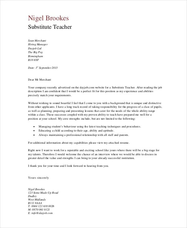 Teacher Cover Letter Example - 9+ Free word, PDF Documents Download