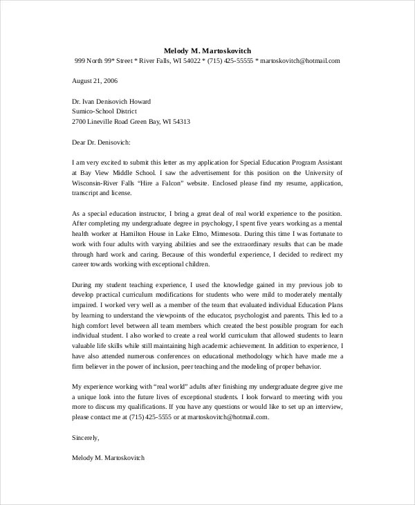 Teacher Cover Letter Example - 9+ Free word, PDF Documents Download - teacher cover letter template