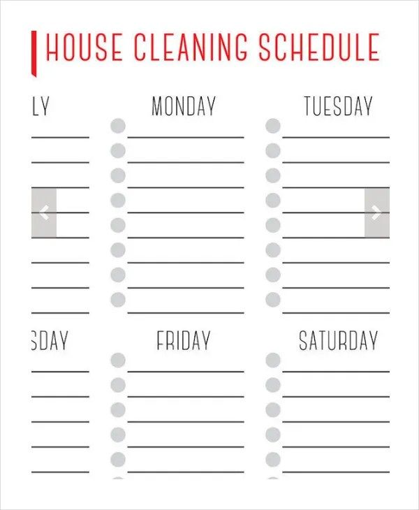 House Cleaning Schedule - 16+ Free Word, PDF, PSD Documents Download