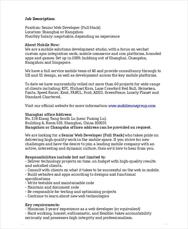 web developer job description 10 free pdf word documents web designer job