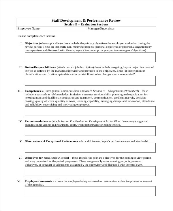 Performance Review Template - 11+ Free Word, PDF Documents Download