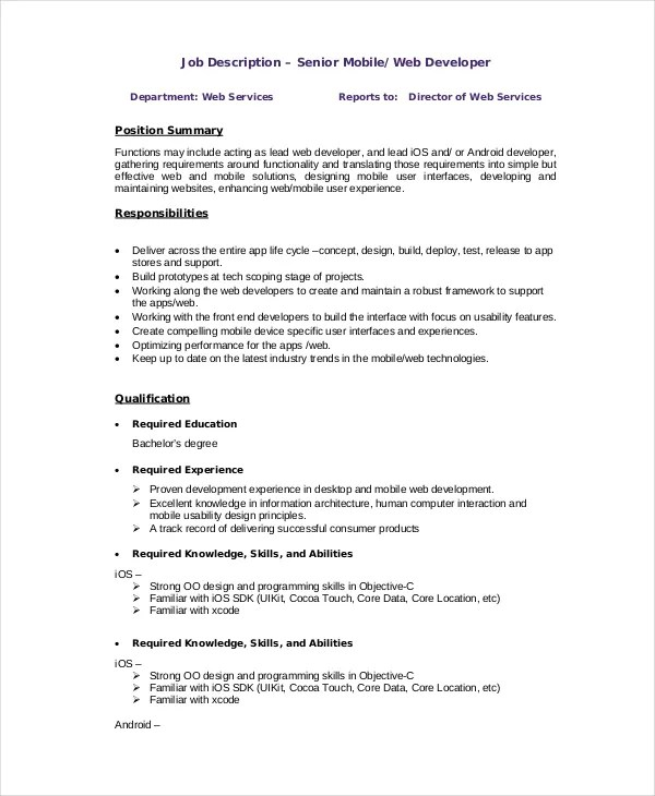 10+ Web Developer Job Description Templates - PDF, DOC Free