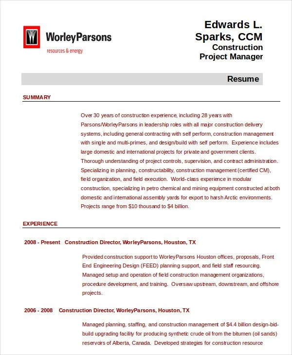Project Management Resume Example - 10+ Free Word, PDF Documents - project management experience examples
